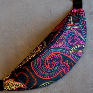 Saszetka biodrowa / nerka z tkaniny obiciowej mosaik fluo / czarny handmade
