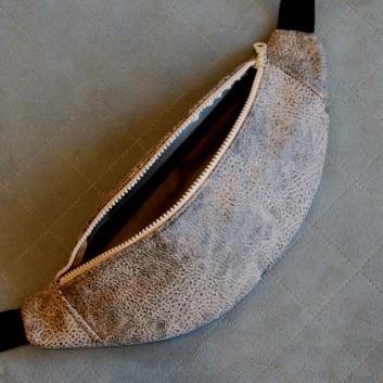 Saszetka biodrowa / nerka z tkaniny obiciowej eko skóra / odcienie beżu i brązu / szary handmade