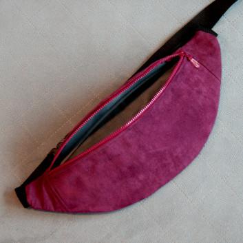 Saszetka biodrowa / nerka z tkaniny obiciowej imitacja zamszu / bordowy / fioletowy handmade