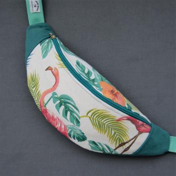Saszetka biodrowa / nerka z bawełny w flamingi i tkaniny obiciowej typu welur / różowe flamingi / turkus handmade