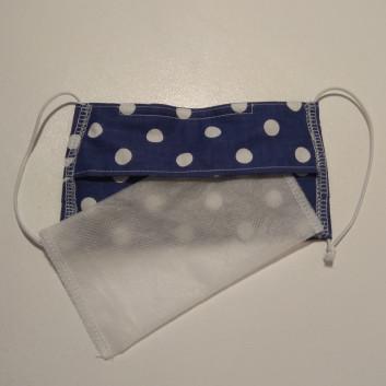 Maseczka ochronna bawełniana - wielorazowa z filtrem / granatowa w groszki Handmade