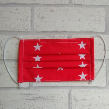 Maseczka ochronna bawełniana - wielorazowa / czerwona w gwiazdki Handmade