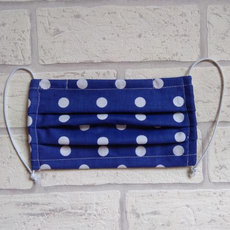 Maseczka ochronna bawełniana - wielorazowa / niebieska w groszki Handmade