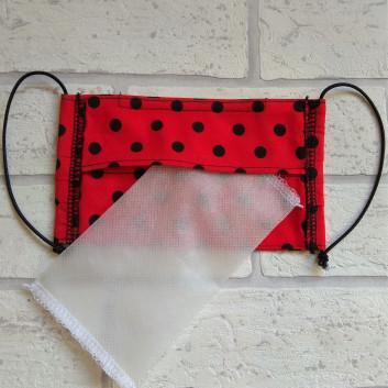 Maseczka ochronna bawełniana - wielorazowa / czerwona w kropki Handmade