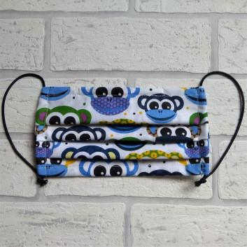 Maseczka ochronna bawełniana - wielorazowa / niebieskie małpki Handmade