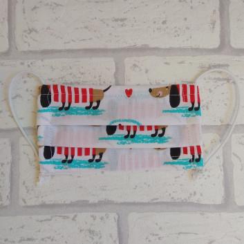 Dziecięca maseczka ochronna bawełniana - wielorazowa / jamniki handmade