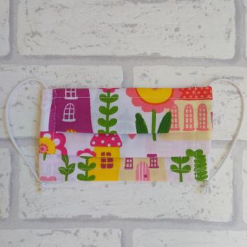 Dziecięca maseczka ochronna bawełniana - wielorazowa / domki Handmade