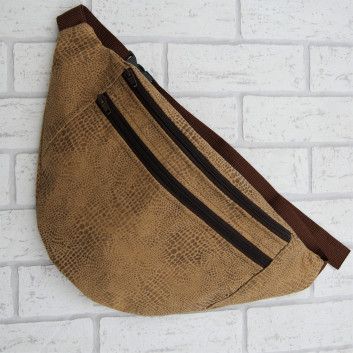Saszetka biodrowa maxi / torebka brązowa w skóra węża Handmade