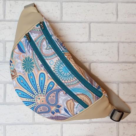 Saszetka biodrowa maxi / torebka z tkaniny obiciowej mosaik i kremowa ekoskóra Handmade