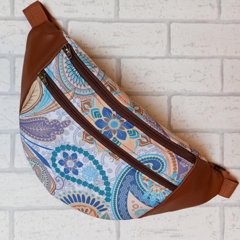 Saszetka biodrowa maxi / torebka z tkaniny obiciowej mosaik i karmelowa ekoskóra Handmade