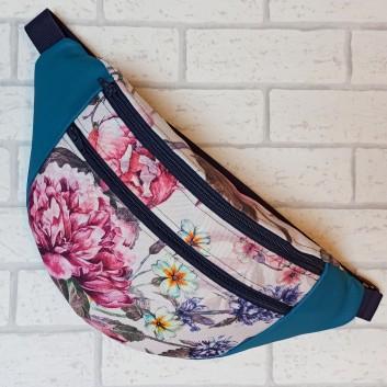Saszetka biodrowa maxi / torebka z tkaniny obiciowej piwonie i turkusowa ekoskóra Handmade