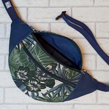 Saszetka biodrowa maxi / torebka z tkaniny obiciowej w liście i kwiaty i granatowa ekoskóra Handmade