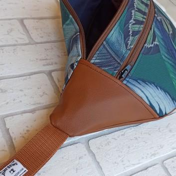 Saszetka biodrowa maxi / torebka z tkaniny obiciowej w liście i karmelowa ekoskóra handmade