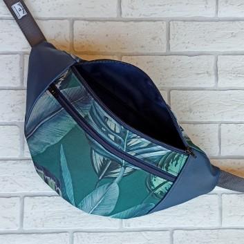 Saszetka biodrowa maxi / torebka z tkaniny obiciowej w liście i granatowa ekoskóra handmade