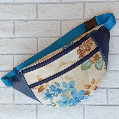 Saszetka biodrowa maxi / torebka z tkaniny obiciowej w brązowe i niebieskie kwiaty i granatowa ekoskóra handmade