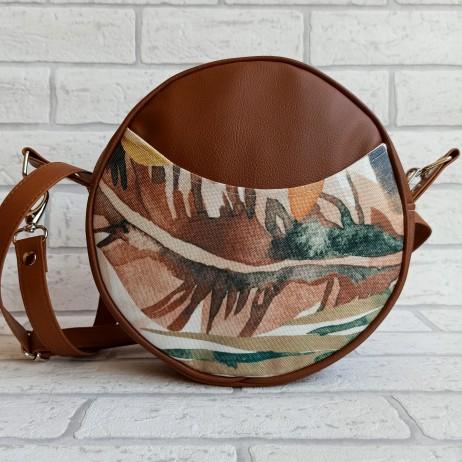 Torebka okrągła z tkaniny obiciowej w zielono-brązowe liście / karmelowa ekoskóra handmade