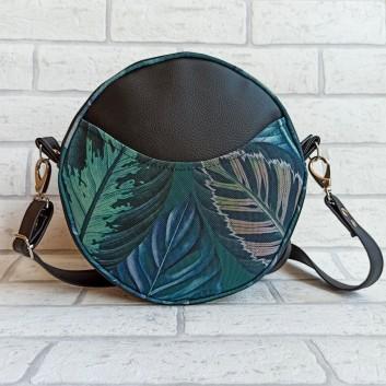 Torebka okrągła z tkaniny obiciowej w zielono-szare liście / czarna ekoskóra handmade