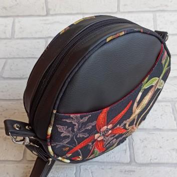 Torebka okrągła z tkaniny obiciowej w kwiaty liście / czarna ekoskóra handmade