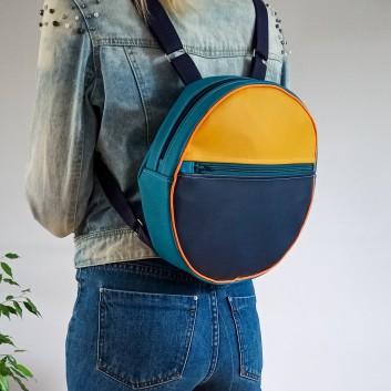 Okrągły plecak - żółta, granatowa i turkusowa ekoskóra handmade