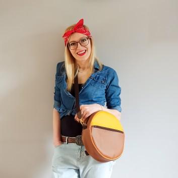 Okrągły plecak i torebka (2in1) - żółta i karmelowa ekoskóra handmade