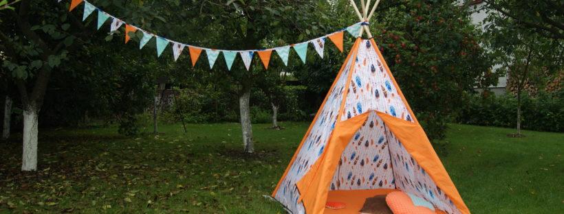 tipi, indziański namiot, dla dzieci, DIY, szycie, szycie od podstaw, wykrój, girlanda, bawełna, pióra, domek dla dzieci